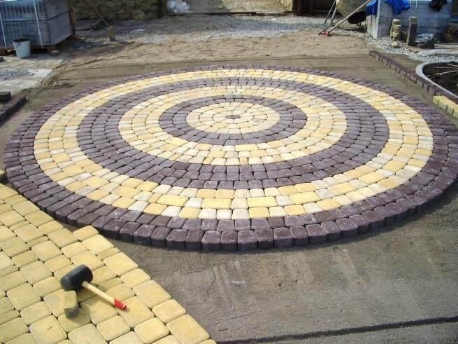 укладка плитки круг